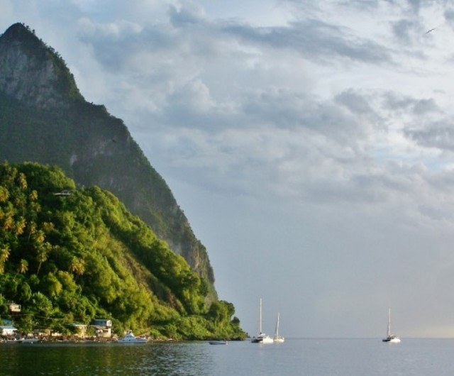 Anchoring next to the Petit Piton St Lucia