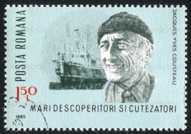 Jacques Cousteau Roman stamp