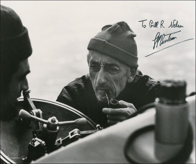Jacques Cousteau autographed photo