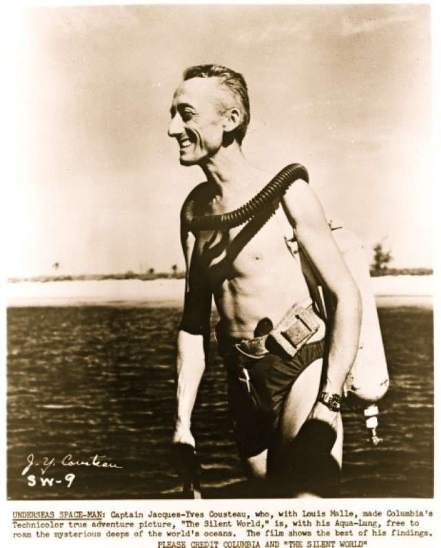 Jacques Cousteau in diving gear