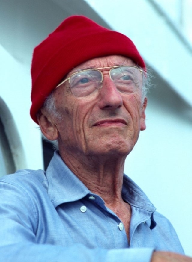 Jacques Cousteau in red hat