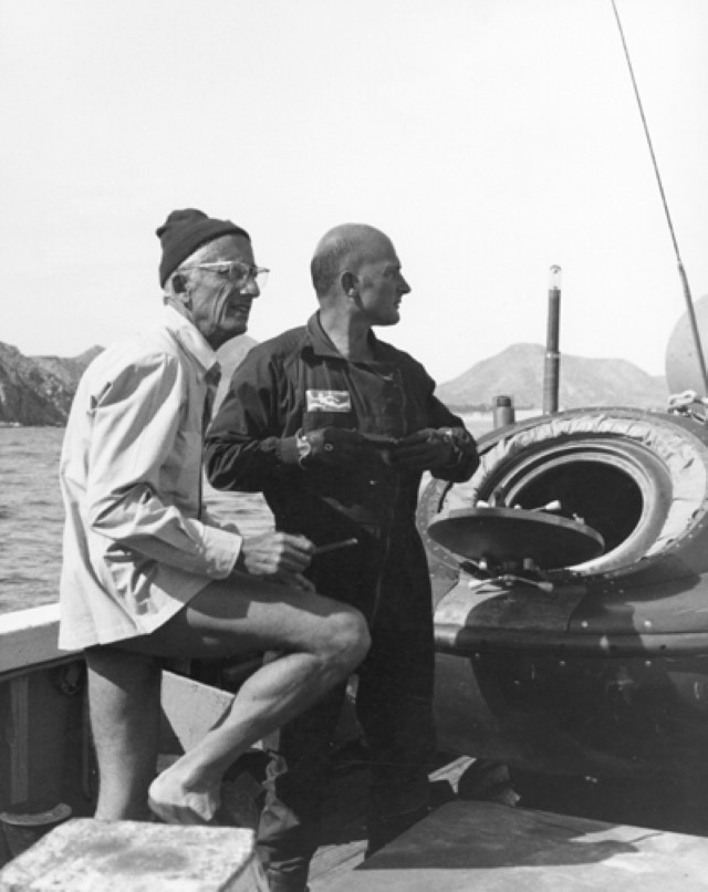 Jacques Cousteau on boat