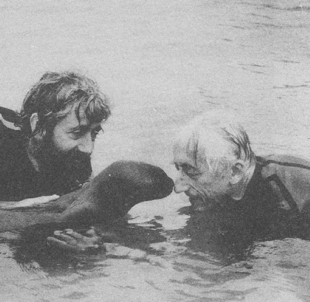 Jacques Cousteau with seal