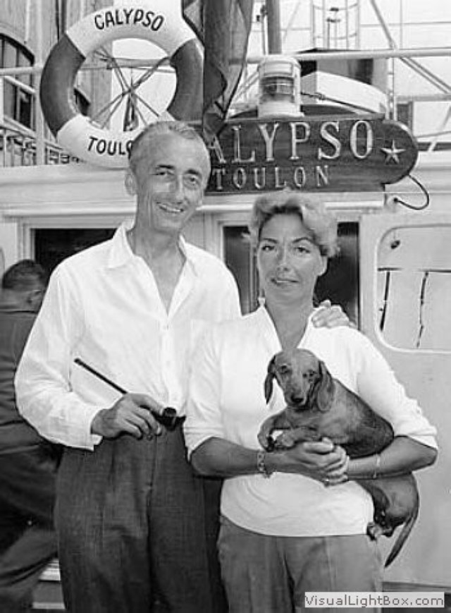 Jacques Cousteau with wife