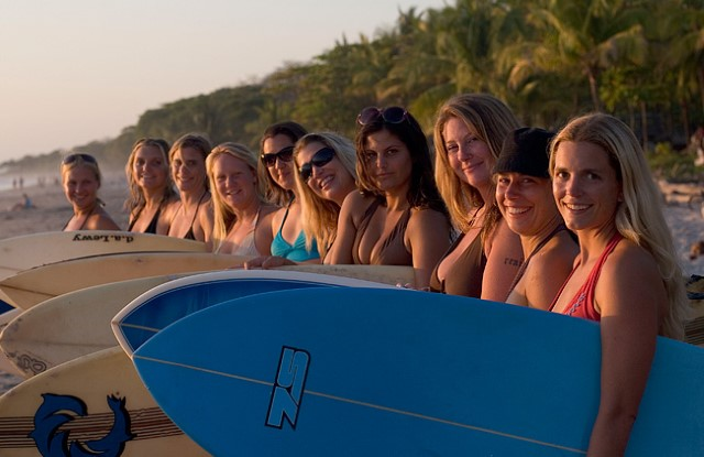group surfer girls