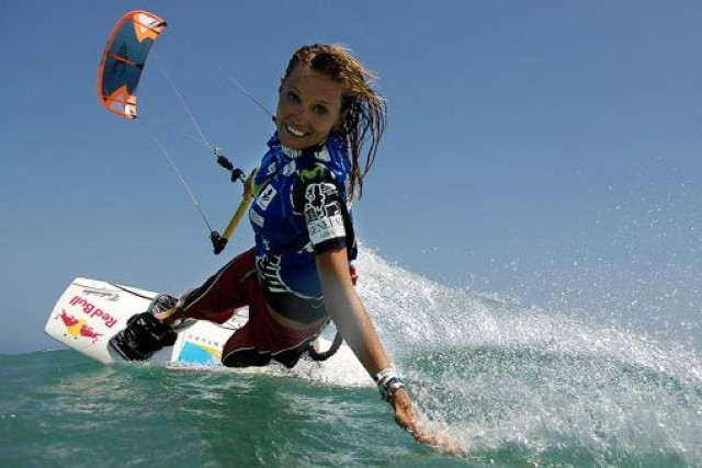 kiteboarder looking at camera