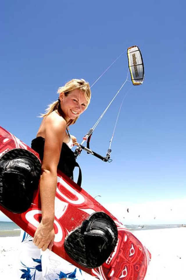 smiling kiteboarder