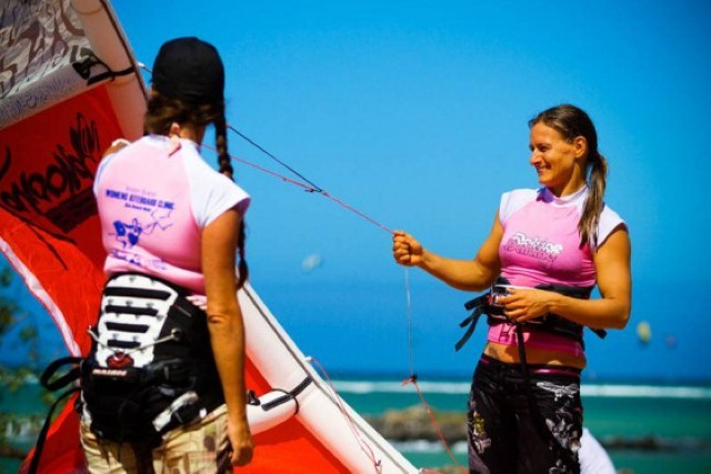 two kiteboarding girls