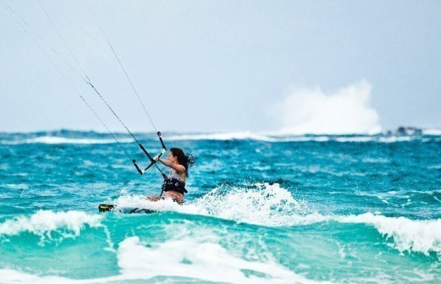 waves and kiteboarder