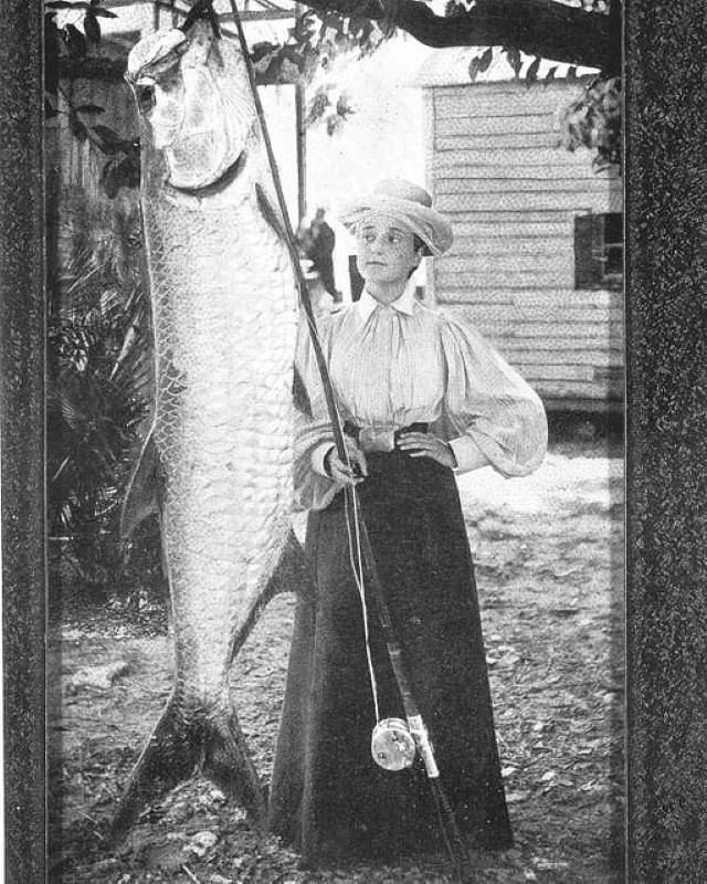 Florida Schultz Heitman with 185 pound tarpon fish by State Library and Archives of Florida.decryptedKLR